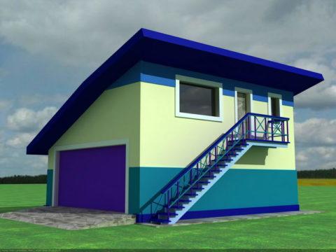 Такой гараж, построенный из блоков, потребует наименьших трудовых и финансовых затрат