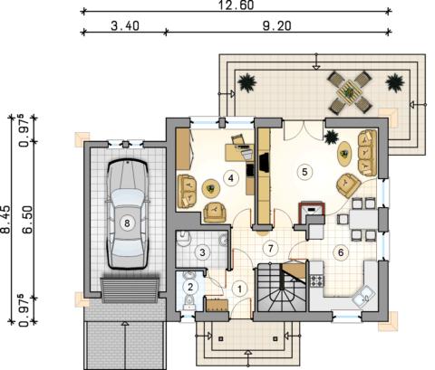 Эскизный вариант планировки дома с гаражом