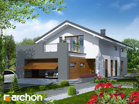 Компактный дом с гаражом с торцевой стороны для узкого участка