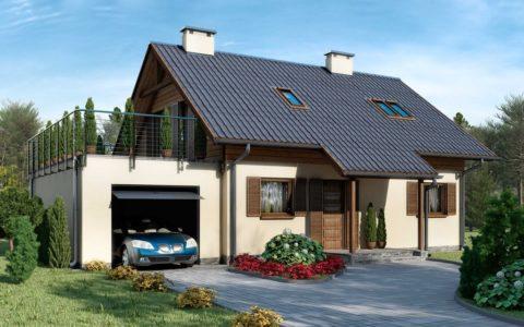 Терраса на крыше гаража-пристройки