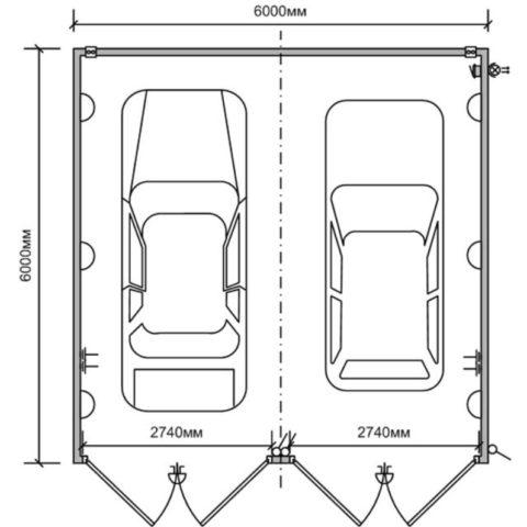Основные размеры гаражного бокса на 2 авто