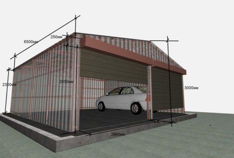 При расширении гаража добавляйте не менее 3 м, чтобы можно было беспрепятственно открывать двери транспортного средства