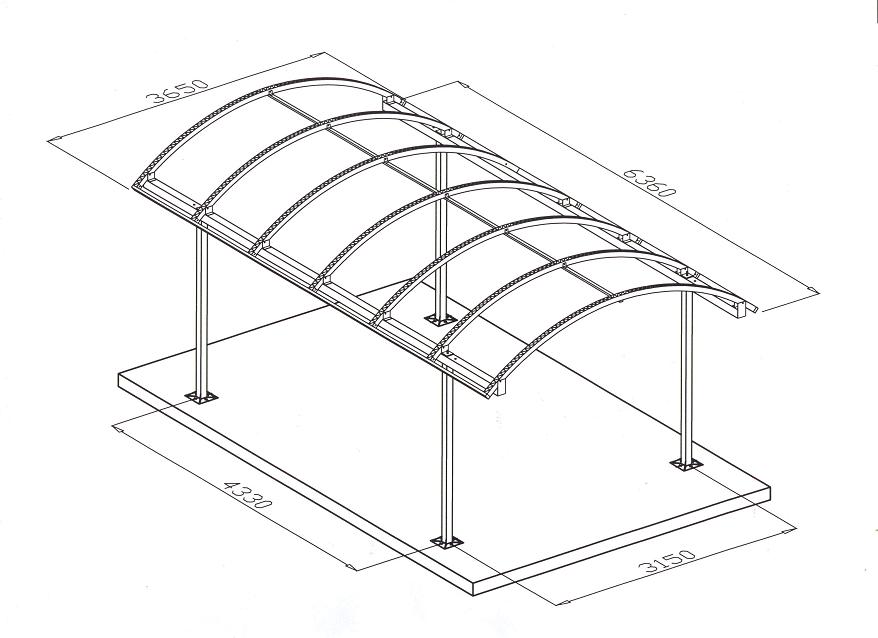 Навесы из поликарбоната для машин: чертежи