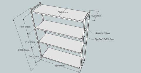 Пример конструкции стеллажа для размещения в гараже