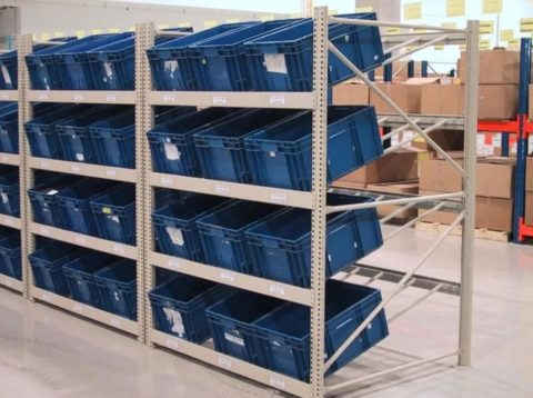 Стеллажи производственные с ящиками